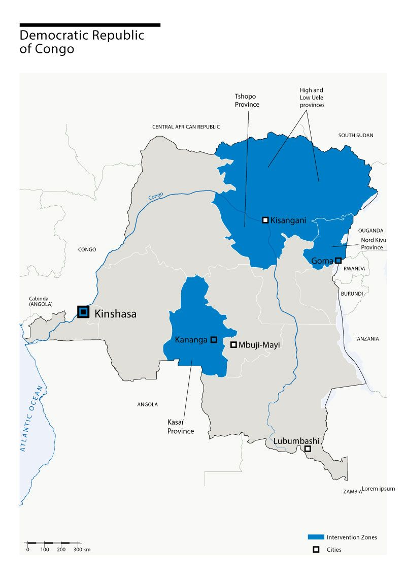 Map of Humanity & Inclusion's interventions in DRC