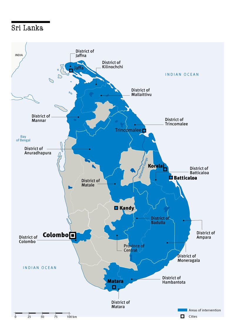 Map of Humanity & Inclusion's interventions in Sri Lanka