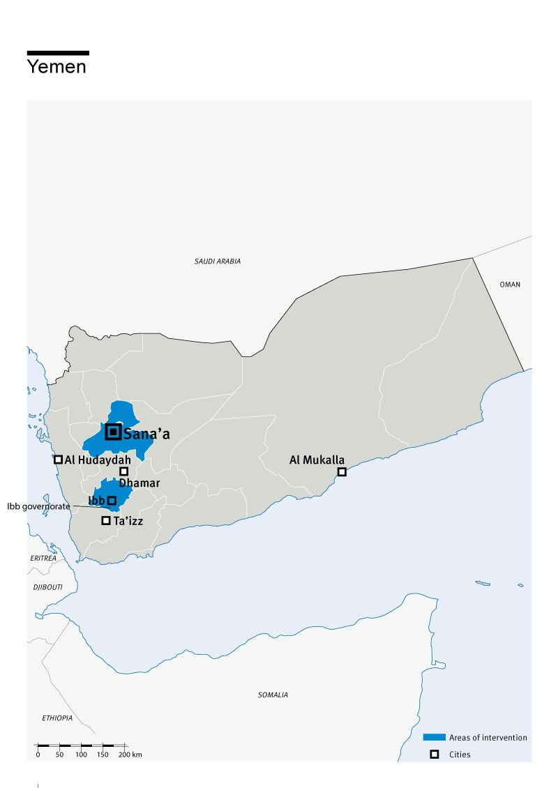 Map of Humanity & Inclusion's interventions in Yemen