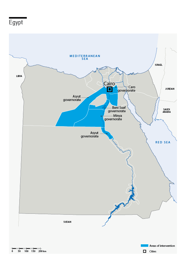 Map of HI's interventions in Egypt