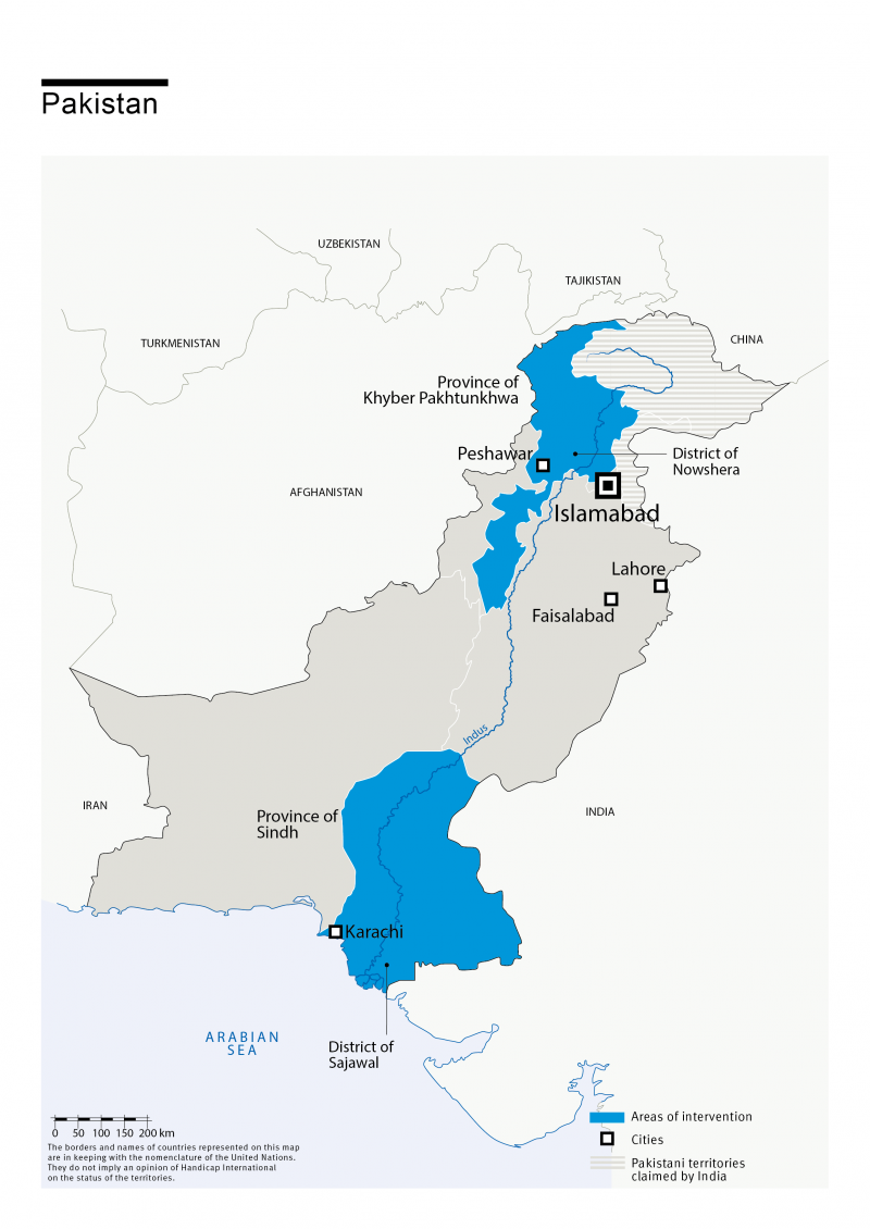 Map of HI's interventions in Afghanistan Pakistan