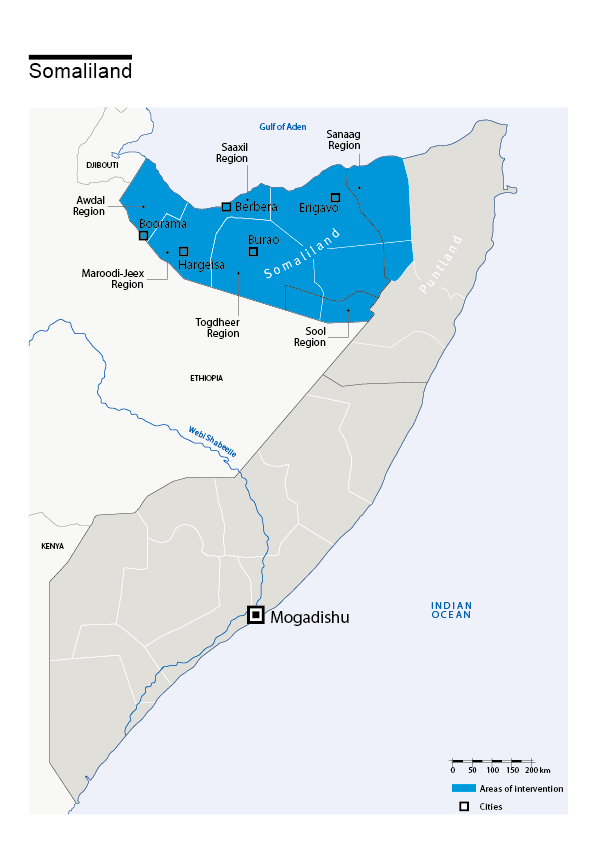 Map of HI's interventions in Somaliland