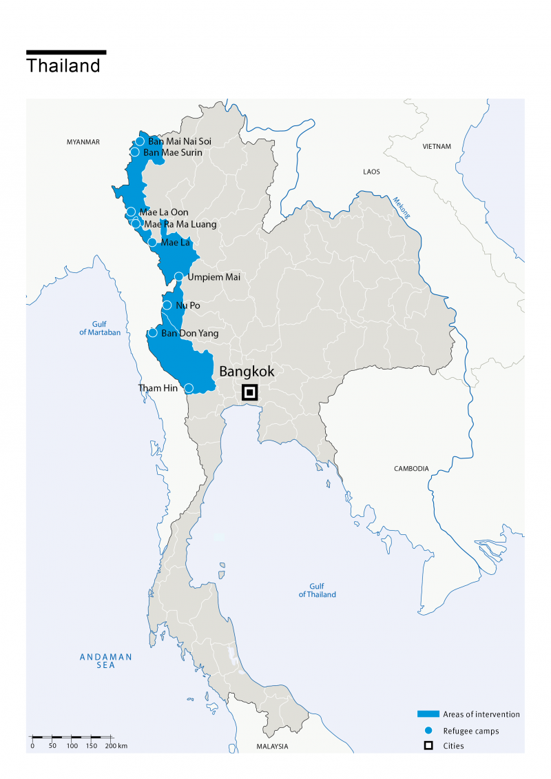 Map of HI's interventions in Thailand