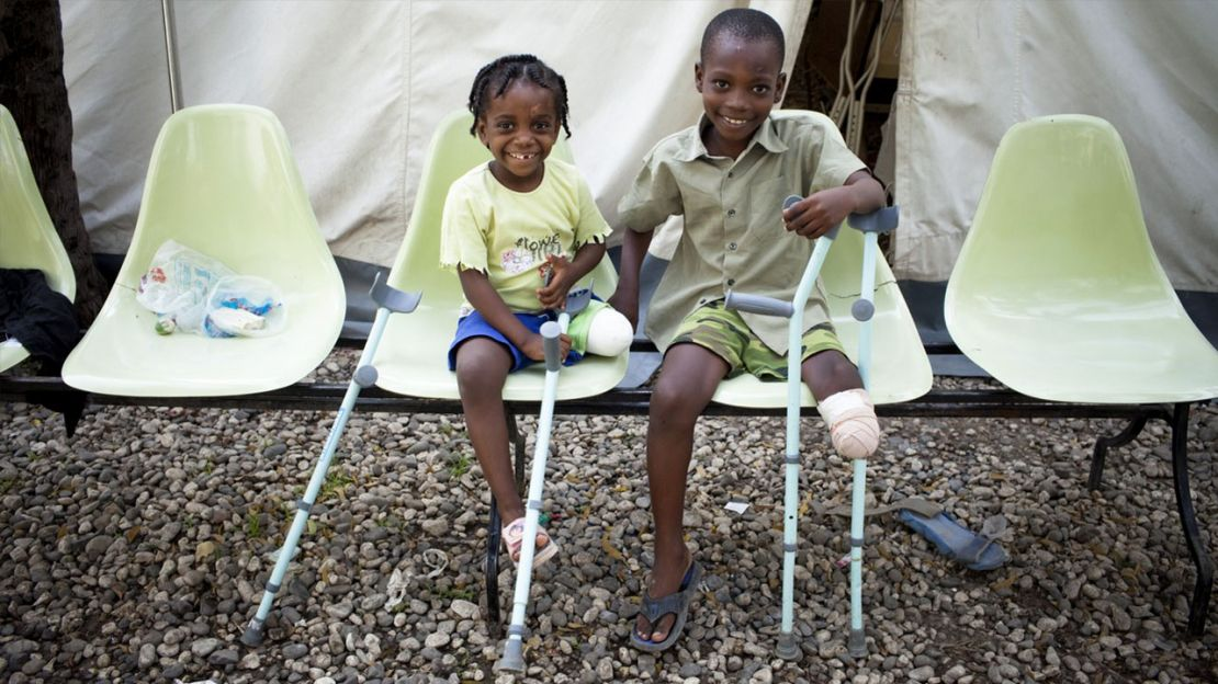 Fymee and Moise both lost legs in the 2010 earthquake, Humanity & Inclusion Haiti