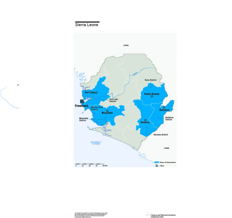 Map of Humanity & Inclusion's interventions in Sierra Leone