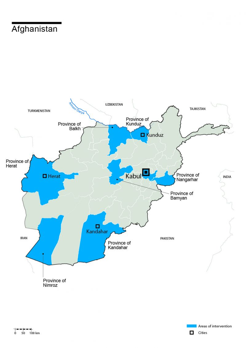 Map of Humanity & Inclusion's interventions in Afghanistan