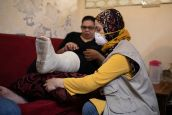 Nada Baghdadi, 27, has a fracture in her leg caused by the explosion in Beirut on 4thAugust.