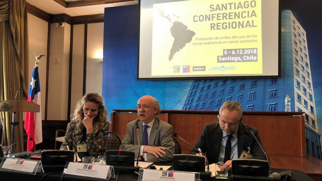 On the 5th and 6th of December 2018, HI co-organised a regional conference in Santiago, the capital of Chile, on protecting civilians from bombing.