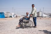 A man displaced from Mosul who lost his leg during an artillery strike. He is beneficiary of psychosocial support services and he received a tent. Khazer M1 camp.; }}