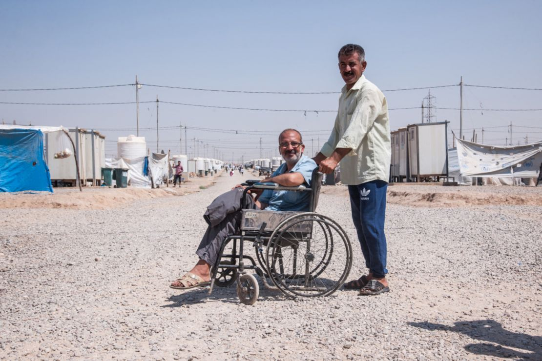 A man displaced from Mosul who lost his leg during an artillery strike. He is beneficiary of psychosocial support services and he received a tent. Khazer M1 camp.
