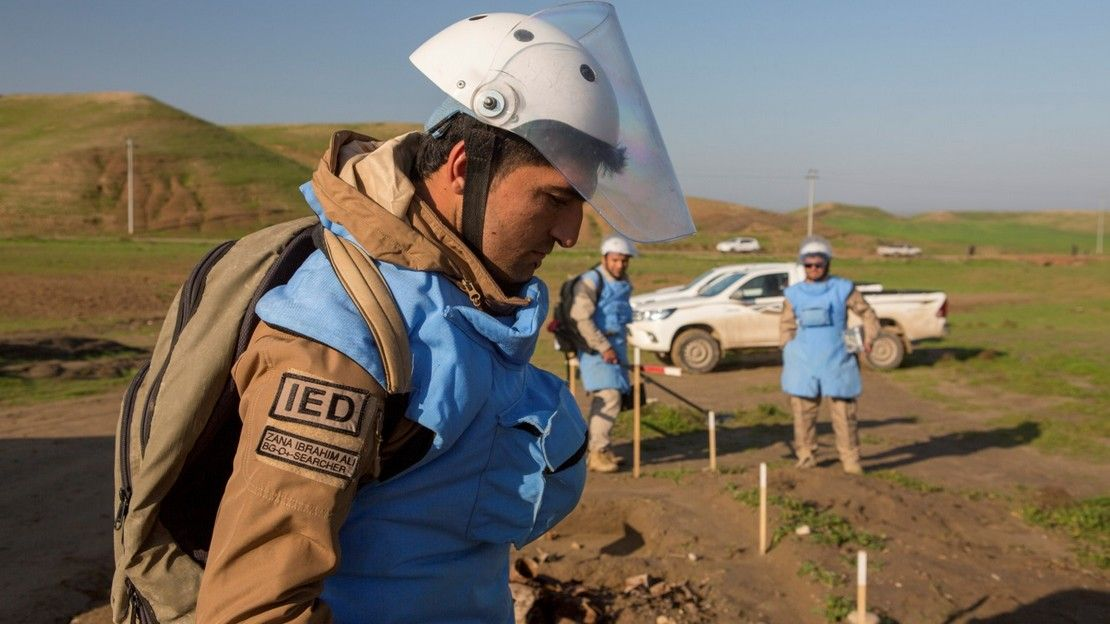 A team of Kurdish weapons clearance experts in Kalar, Iraq