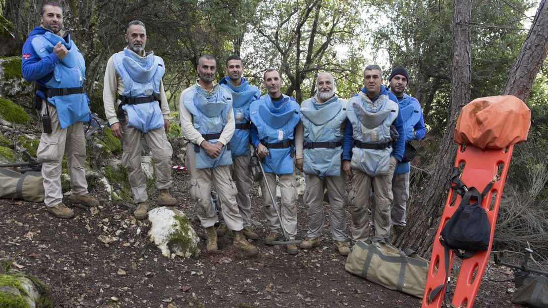 The mine clearance team in northern Lebanon