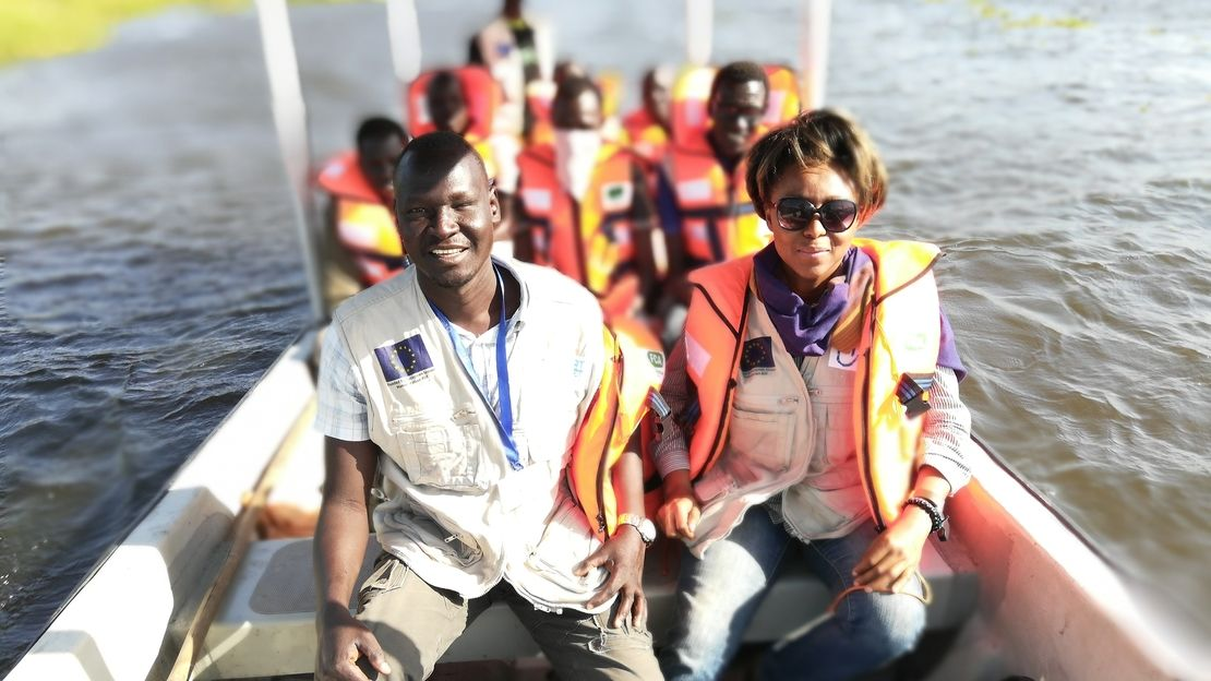 HI members of the Flying Team taking a boat to a location in New Fangak, South Sudan