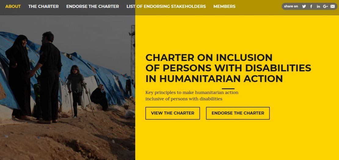 Homepage of the Humanitarian Disability Charter website