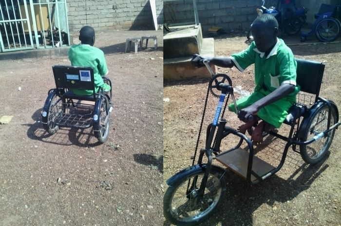 This tricycle enables Emmanuel to move around without having to ask others for help
