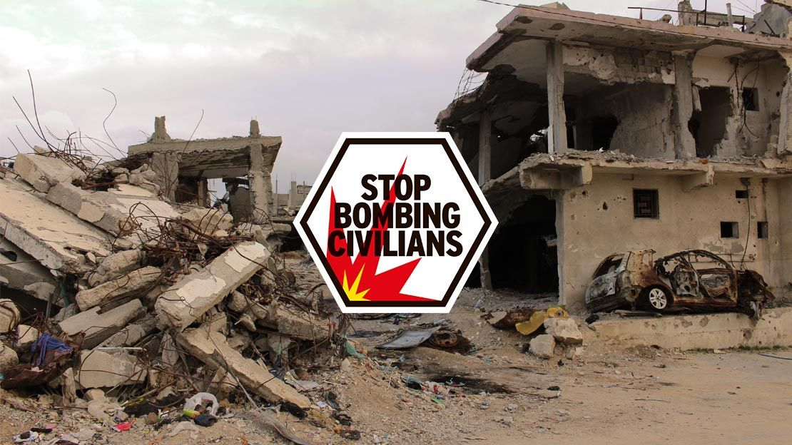 Destruction in Gaza and Stop Bombing Civilians logo