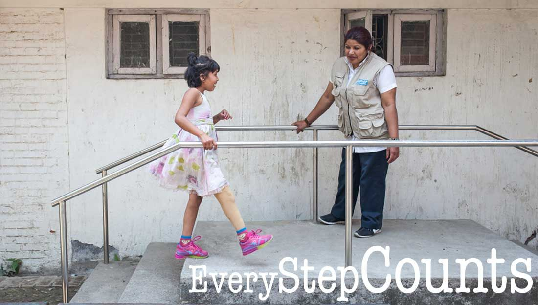 Nirmala learning to walk again with a prosthesis, Nepal