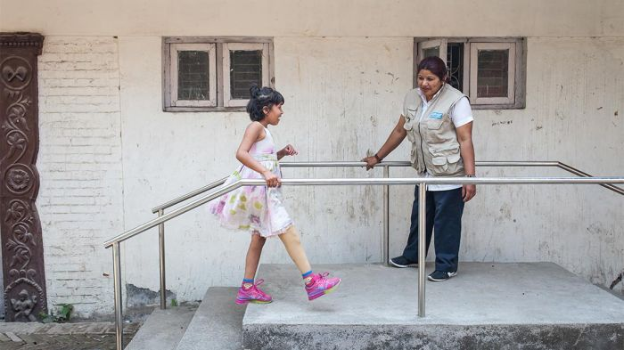 Nirmala, 9, had to have her leg amputated following the Nepal earthquake in April 2015. Like all growing children, Nirmala needs a new artificial leg every 6 to 9 months.
