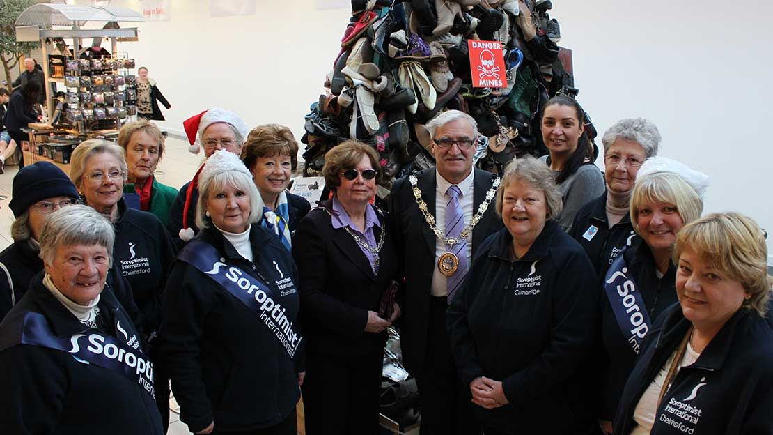 Soroptimists in Chelmsford built a Pyramid of Shoes to raise awaress about the victims of conflict.