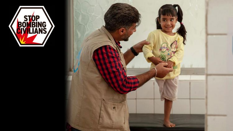 Hala, aged 4, in a rehabilitation session. She lost her leg in a bombing in Yemen
