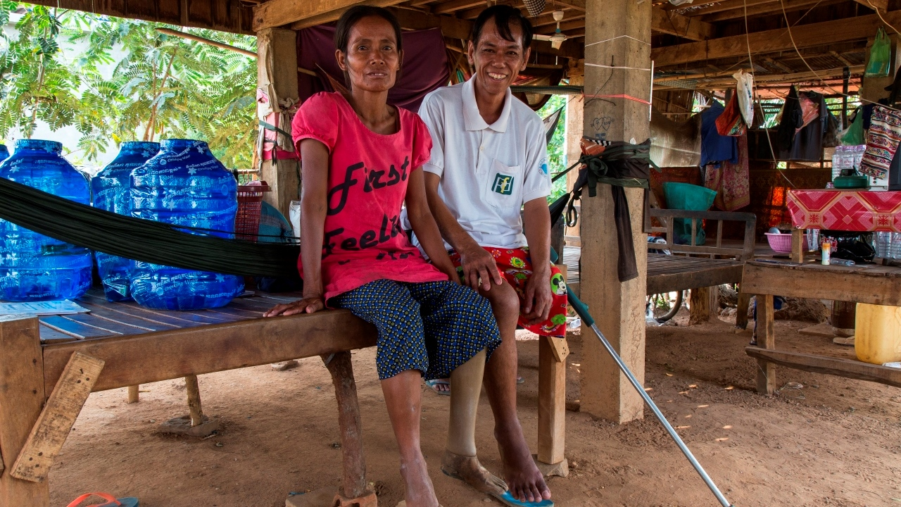 Tirean and Navea were both victims of landmines in the 80's. They are both supported by Handicap International. ; }}