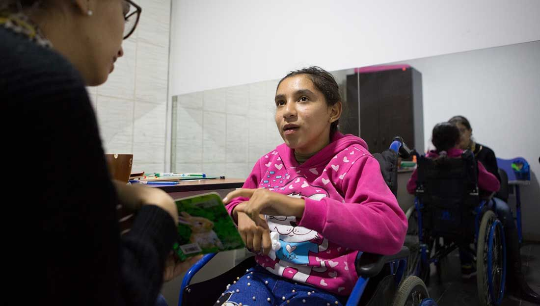 Bayan attends a speech therapy session at the Mousawat rehabilitation centre, Lebanon.