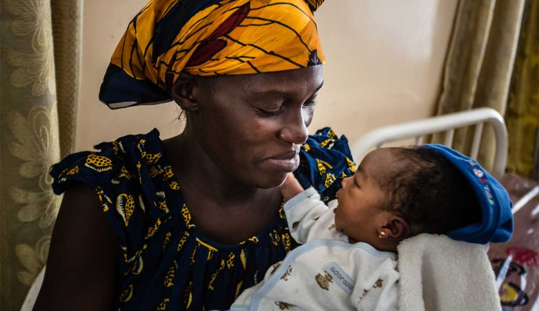 A mother and her child attending the health centre in Bumbu, DR Congo.