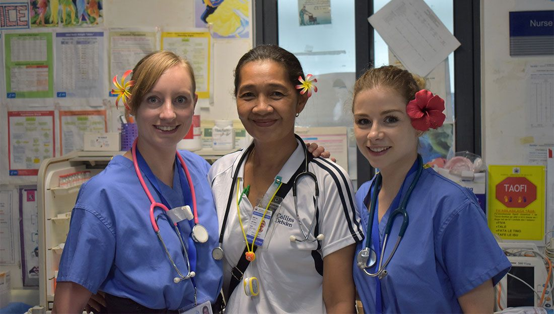 Samoan physiotherapist, Rube, with UKEMT members Susie and Maeve