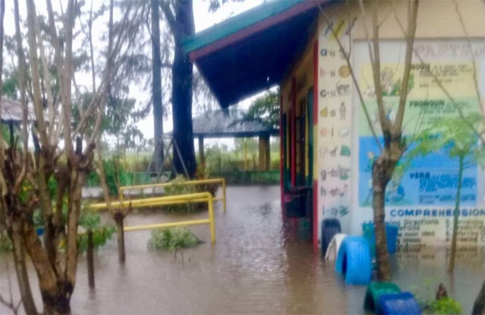 A school in Luzon, Philippines, flooded by rains brought by Typhoon Mangkhut