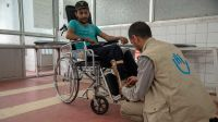 Patient care by Aiman, senior physiotherapist at the Sana'a Rehabilitation Centre, Yemen; }}