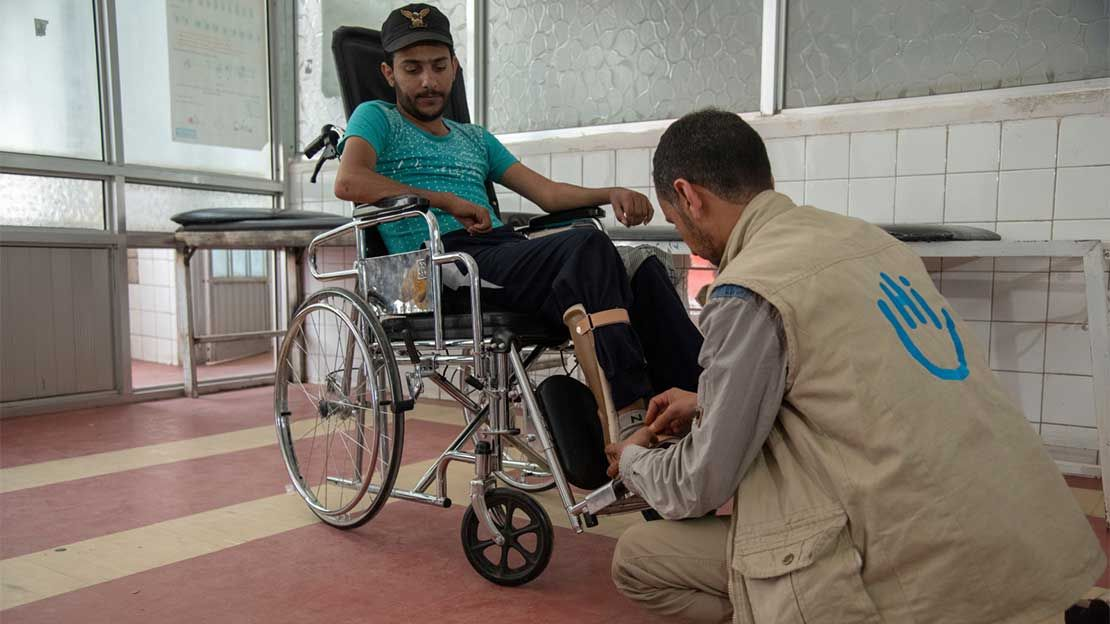 Patient care by Aiman, senior physiotherapist at the Sana'a Rehabilitation Centre, Yemen