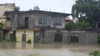 A building under water in the province of Terai, Nepal; }}