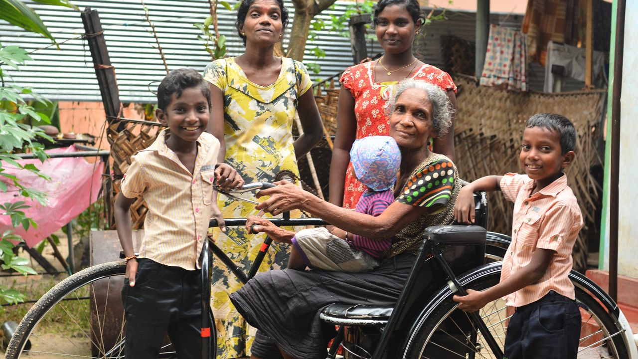 Arumugam lives with her daughter and two grandchildren. Her village is regularly affected by severe floods.