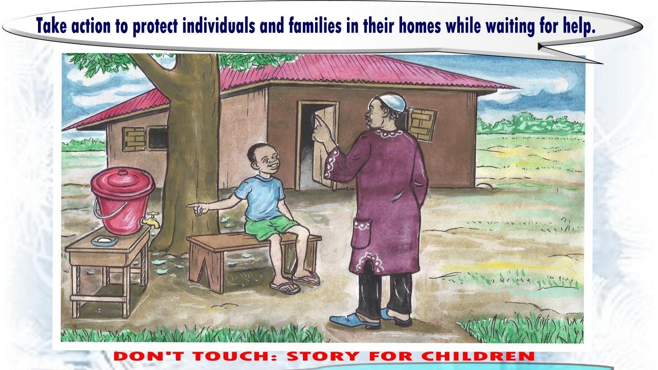 A page from a children's book created by Handicap International to ensure children have the information they need to stay safe from the danger of ebola. Sierra Leone.