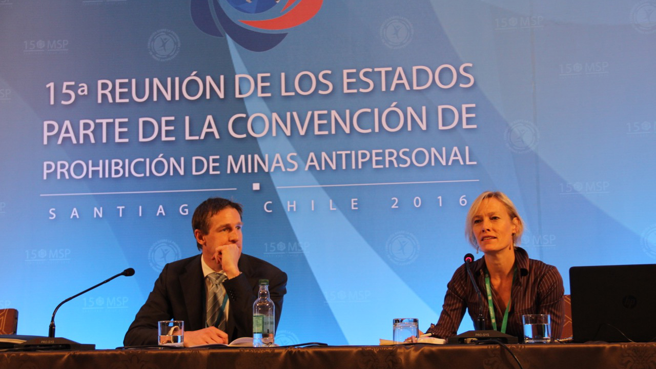 Handicap International Victim Assistance expert Elke Hottentot during the Ottawa Treaty Conference in Santiago, Chile, December 2016.; }}