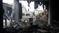 A photo of a building destroyed by air-strikes in teh summer of 2014. Gaza.