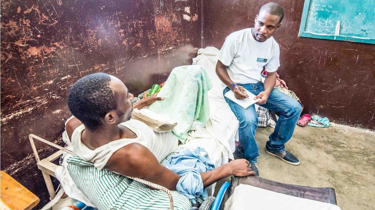 Handicap International's teams are working with injured people in Les Cayes, after the hurricane hit Haiti last week.; }}