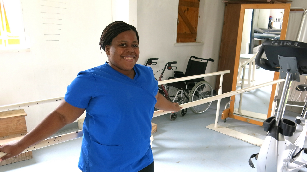 Stéphanie at the Healing Hands for Haiti rehabilitation centre. Haiti.
