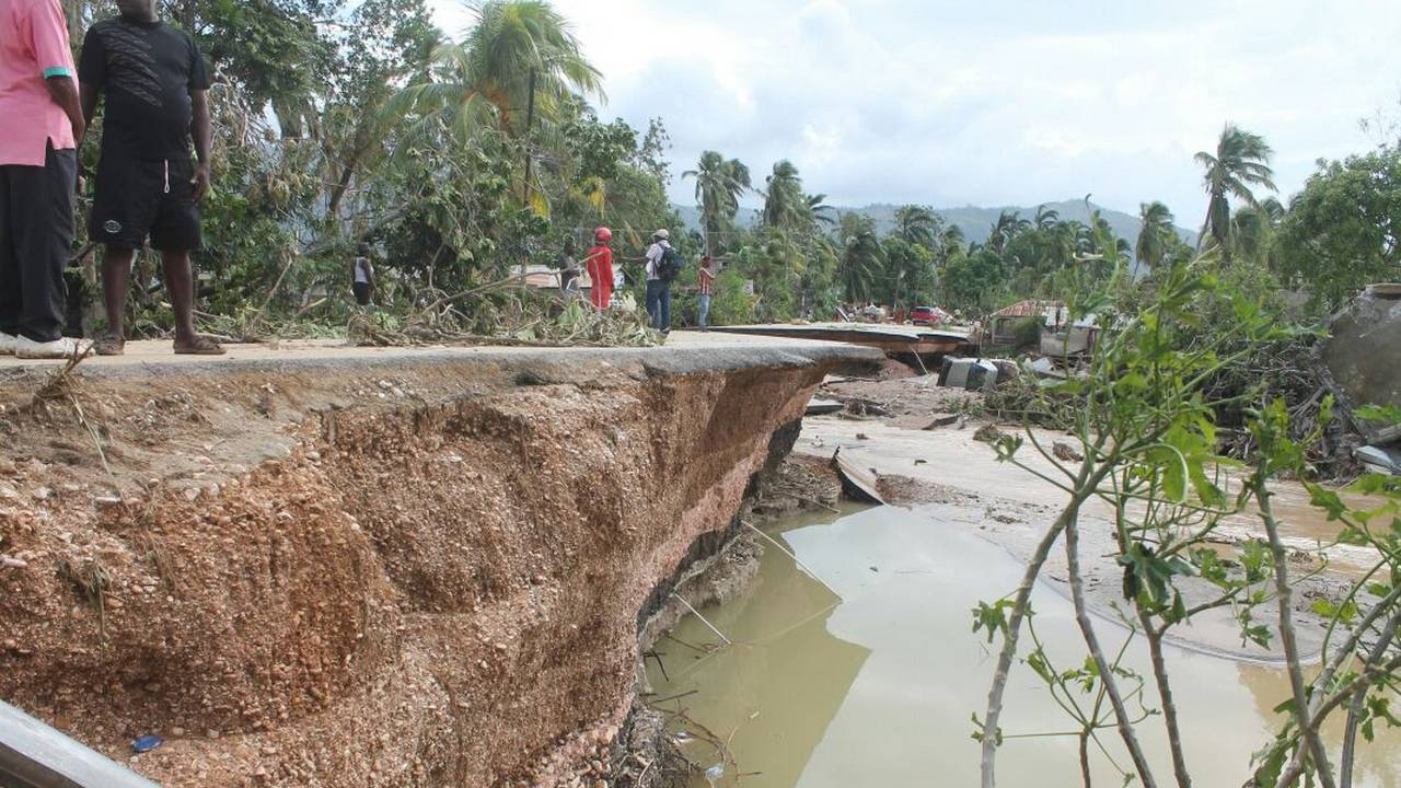 A destroyed road in the south of Haiti
