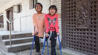 Nirmala and Khendo at the National Disabled Fund rehabilitation centre; }}