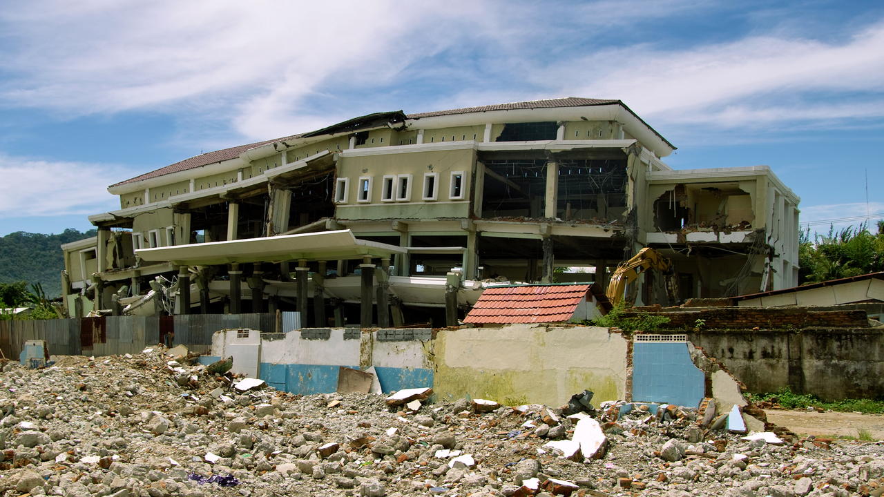 Destroyed building after the earthquake of September 2009 in Padang, on Sumatra Island, in Indonesia. ; }}