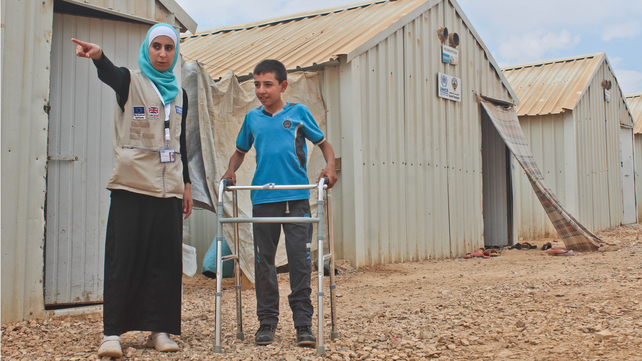 Mohammad and Noor in Azraq refugee camp, in Jordan