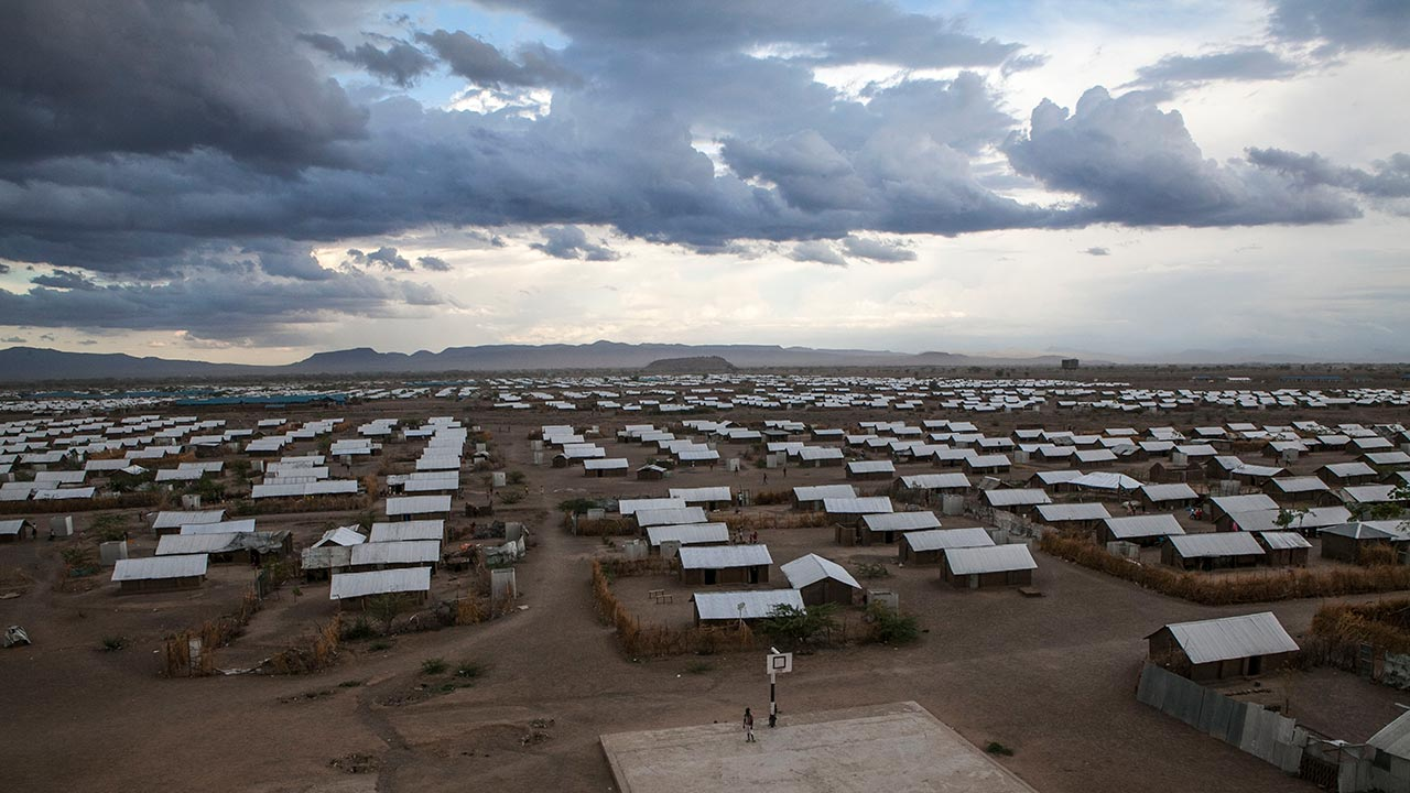 Landscape shot of Kakuma camp with clouds overhead