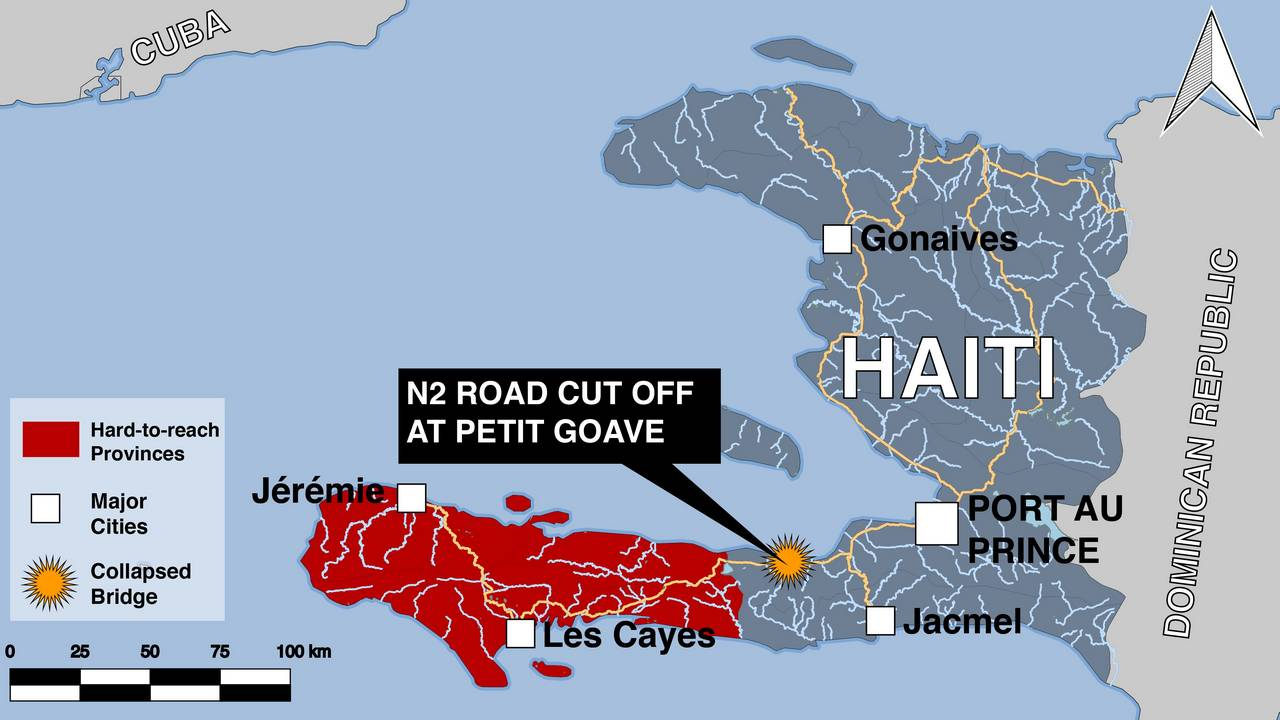 Map of Haiti after the passage of Hurricane Matthew