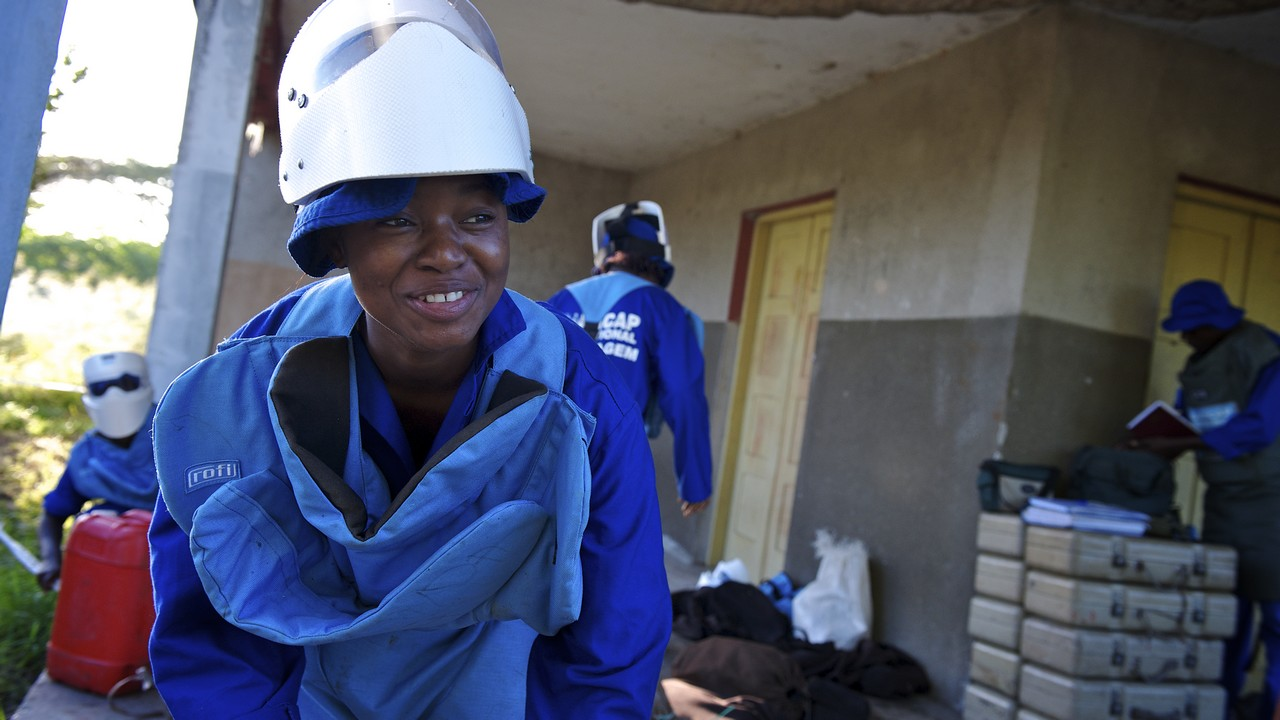Benvinda, one of Handicap International's amazing deminers, that has helped to free Mozambique from the scourge of landmines.; }}