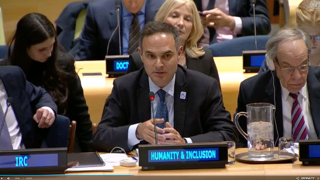 Humanity & Inclusion's Global Managing Director, Manuel Patrouillard, addresses the UN Security Council