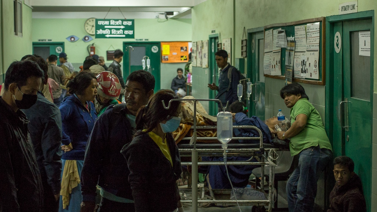 Emergency medical services have been overwhelmed since the earthquake. Nepal.