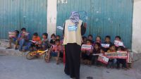 An explosive weapons risk education session conducted by Handicap International in Gaza.