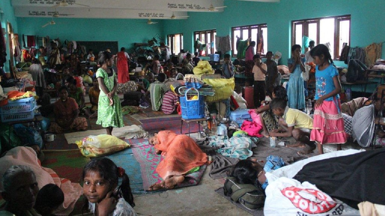 During Sri Lanka floods, thousands of people were displaced in temporary shelters.; }}