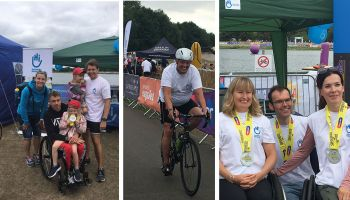 Six HI superheroes take part in UK's only disability triathlon